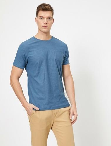 Koton Bisiklet Yaka Cep Detaylı Flamli Kumas Slim Fit Basic T-Shirt Mavi